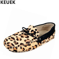 Men Flats Fashion Genuine Leather Breathable Moccasins Male Casual Shoes Popular Leopard Print Loafers Driving Shoes