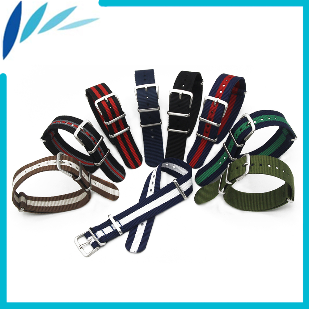 Nylon Watch Band 18mm 20mm for Citizen Watchband Stainless Steel Pin Buckle Strap Wrist Loop Belt Bracelet Black Brown Green Red 18mm 20mm 22mm 24mm stainless steel watch band for orient watchband safety buckle strap wrist belt bracelet black silver