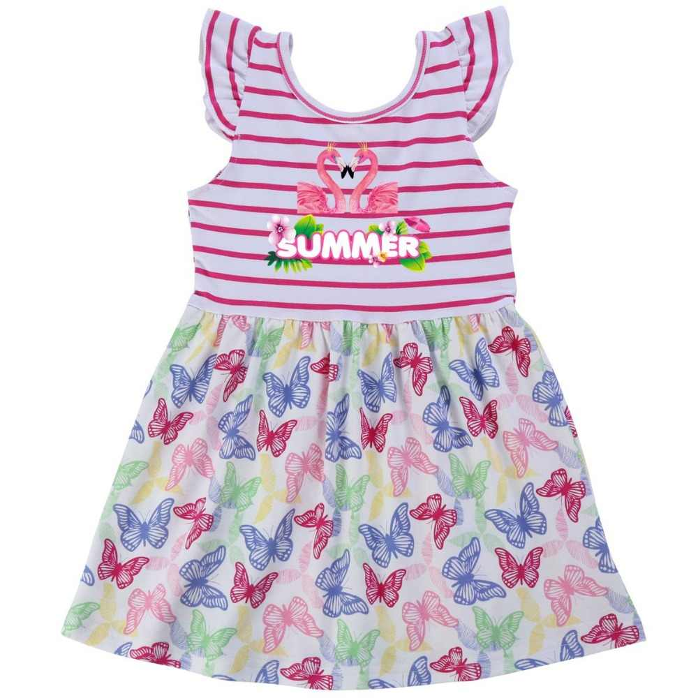 Flamingo 2019 Meninas de Verão Vestido de Algodão Retro Criança Voando Manga Sem Encosto Unicórnio Padrão De Vestido de Casamento Da Princesa Vestido de Festa