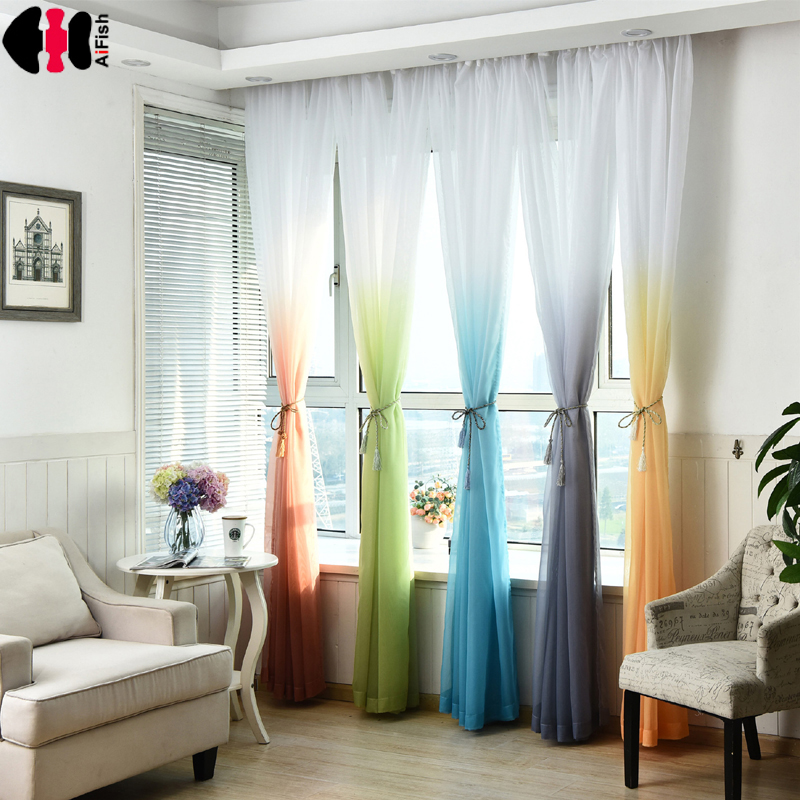 Wedding ceiling drapes Baby Room Soft Multi Color Blinds Living Room yellow curtains Tulle Voile Window Drapes Gauze Panel P185B