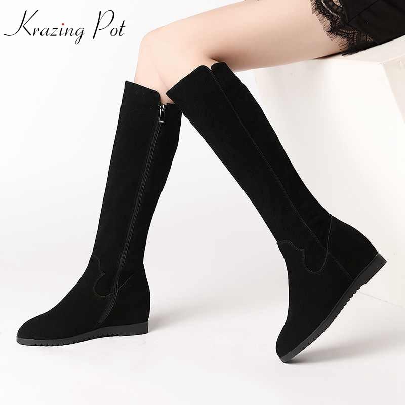 Krazing وعاء 2019 البقر suedde أحذية طويلة أسافين عالية الكعب جولة تو المرأة الدفء زيادة أسود اللون الركبة عالية الأحذية L7f9-في بوت للركبة من أحذية على  مجموعة 1