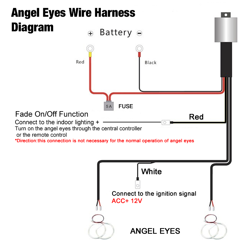 details about relay wiring harness kit for bmw ccfl led angel eyes light fade function wiring led lights in series wiring diagram led eyes #1