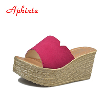 Aphixta Summer Wedge Slippers Platform High Heels Women Slipper Ladies Outside Shoes Basic Clog Wedge Slipper Flip Flop Sandals