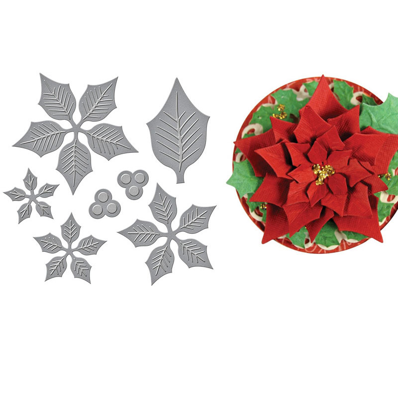 Layered Poinsettia Etched Dies Cuts Metal Cutting Dies Scrapbooking Crafting Paper Card Make Emboss Stencil Template 12x10.6cm