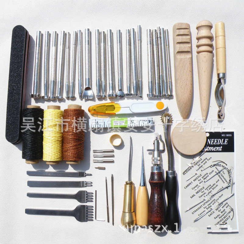 50pcs Leather Craft Punch Tools Sewing Stamping Kits Hand Making Stitching Set