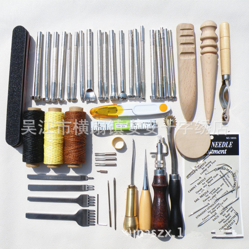 DONYAMY 59PCS/Set Leather Craft Hand Tools Kit Thread Awl Waxed Thimble Kit For Hand Stitching Sewing Stamping DIY Tool Set marking tools