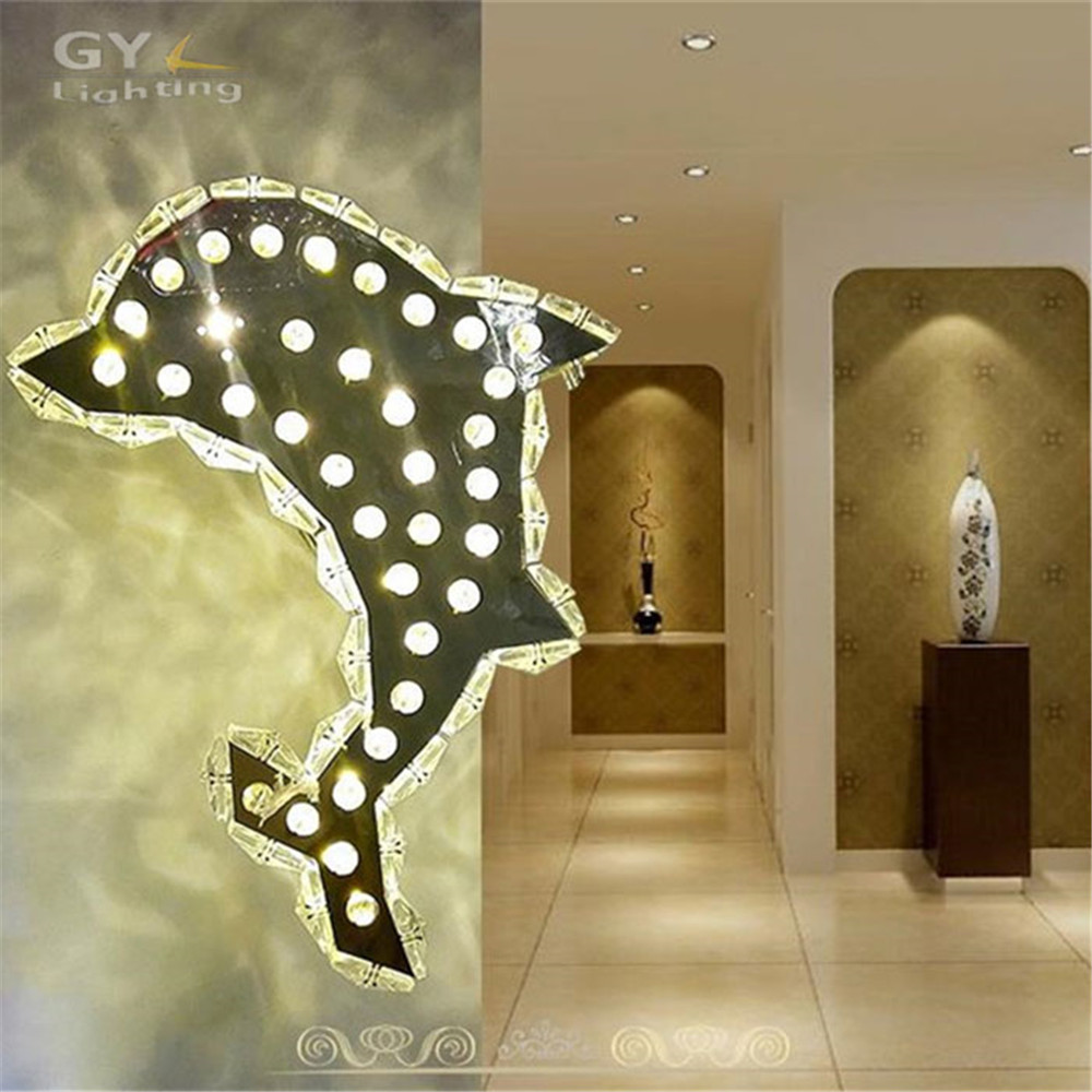 Home art decor dolphin wall lights modern led crystal wall lamp 12W warm white cold white wall sconces AC110-240V lighting