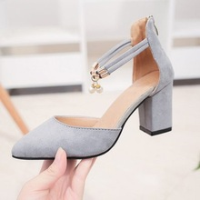 2019 explosion models fashion wild word buckle with pointed high heels thick female summer comfortable suede shoes