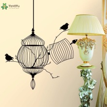 YOYOYU Vinyl Wall Decal Exquisite Black Birdcage Bird DIY Living Room Home Farmhouse Style Decoration Stickers FD082