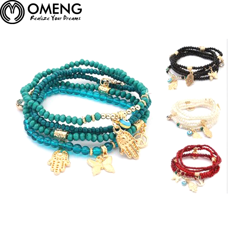 a524276b98 OMENG Anchor Palm Eye Peace sign Beads Bracelets Elastic Bracelet bijoux  pulseras Multilayer Chains Bracelets OSL193
