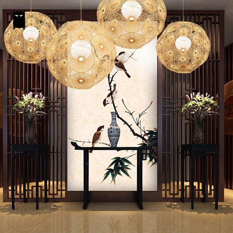 Bamboo Wicker Rattan Round Globe Ball Sphere Snowflake Pendant Light Fixture Rustic Nordic Art Deco Hanging Lamp Lustre Design bamboo round ball pendant lights for