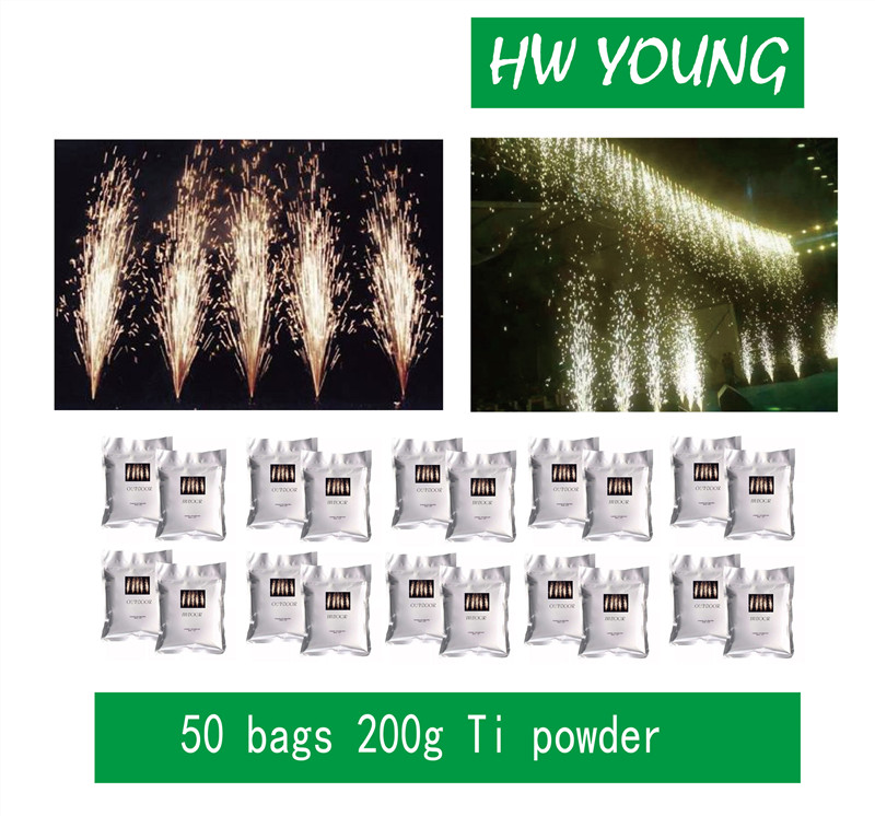 HWyoung 50 Bags/200g Wholesales Ti Powder Cold Spark Firework Machine Spark Effect Fountain Stage Sparklers For DJ Party Wedding