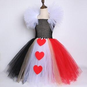 Image 4 - 검은 색과 빨간색 여왕 하트 투투 드레스 앨리스 카니발 할로윈 코스프레 의상 여자 아이 생일 파티 드레스 2 12 년