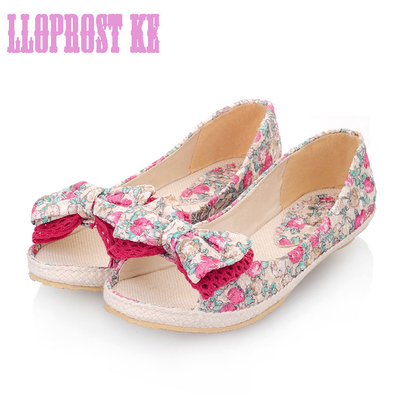 Lloprost ke spring summer shoes women Leisure lace butterfly-knot fisherman flats peep toe flower sweet shoes big size30-44JT662 plus size 34 41 black khaki lace bow flats shoes for womens ds219 fashion round toe bowtie sweet spring summer fall flats shoes