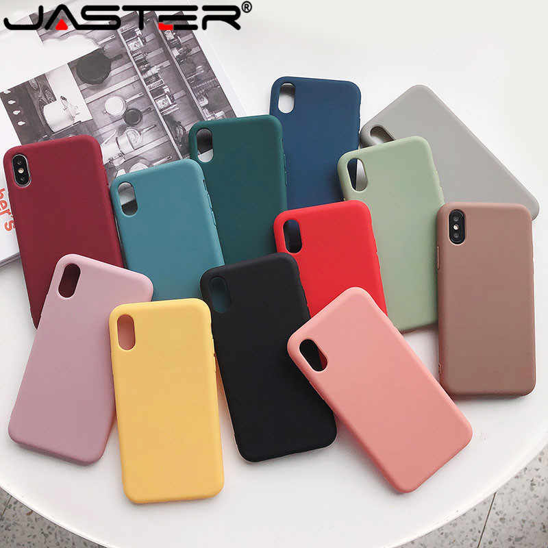 Funda de teléfono de silicona suave de Color caramelo para iphone X XS Max XR funda para iphone 7 8 6s funda trasera de TPU de Color sólido Plus