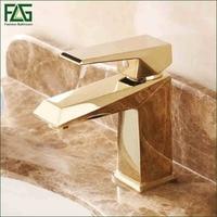 FLG Top Sale Basin Faucet Golden Plated Deck Mounted Tap Misturador Monocomando Cuba Banheiro Pia Bathroom Faucet Mixer Tap M080
