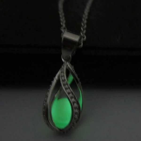 משלוח חינם רודיום מצופה קישור שרשרת ירוק זוהר בחושך מים זרוק אטלנטיס תליון חג המולד מתנות שרשראות