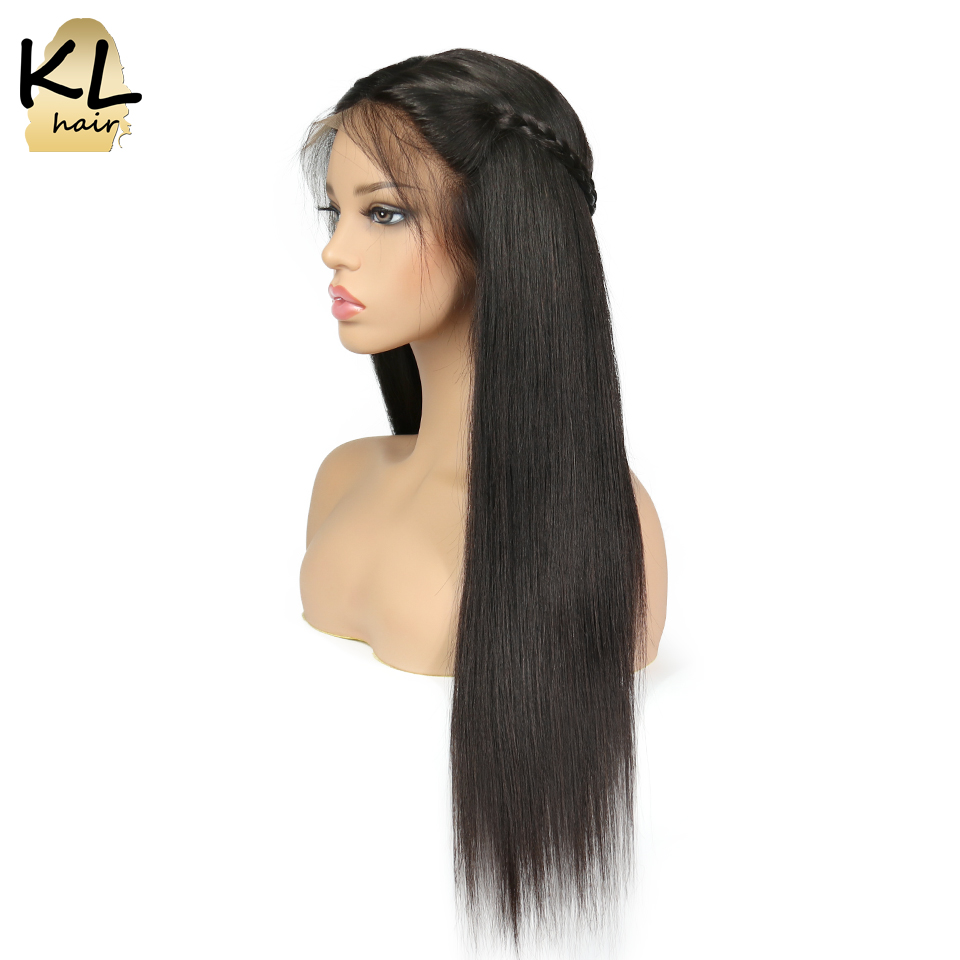 KL Hair Straight Full Lace Human Hair Wigs With Baby Hair Natural Black Brazilian Remy Hair