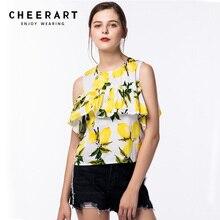 Cheerart Cotton Linen Ruffle Summer T-Shirt Women Casual Floral Print Cold Shoulder Female Crop Top Hot Clothing
