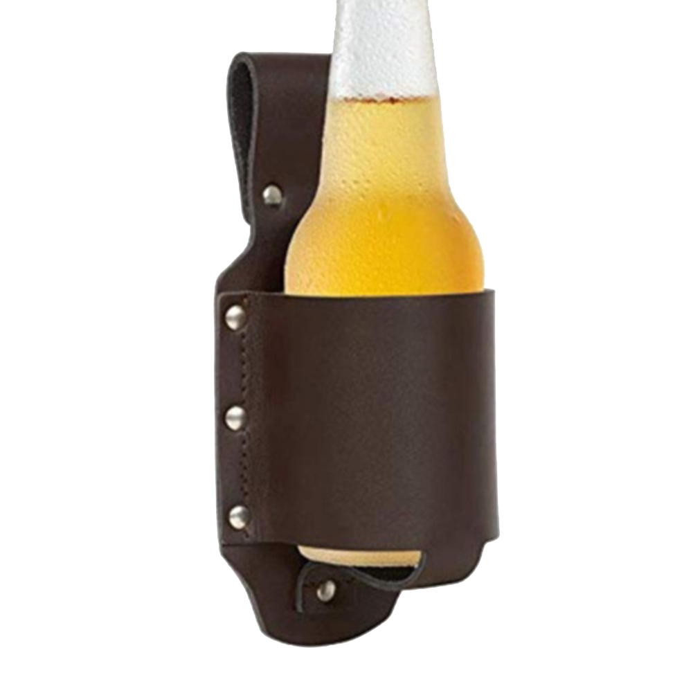 Waist Hiking Bottle Holster PU Leather Camping Outdoor Climbing Portable Sports Wine Drinking Beer Belt Bag Beverage Can Holder