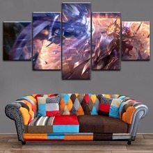 Modern Canvas Art Print 5 Pieces League Of Legends Battle Diana Leona Shield Sword Painting Wall Decoration Modular Game Poster
