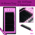 5 trays set,0.07mmThickness , 16sheets/tray, 3D mink eyelash extension,3D individual eyelash extension,,3D false eyelashes