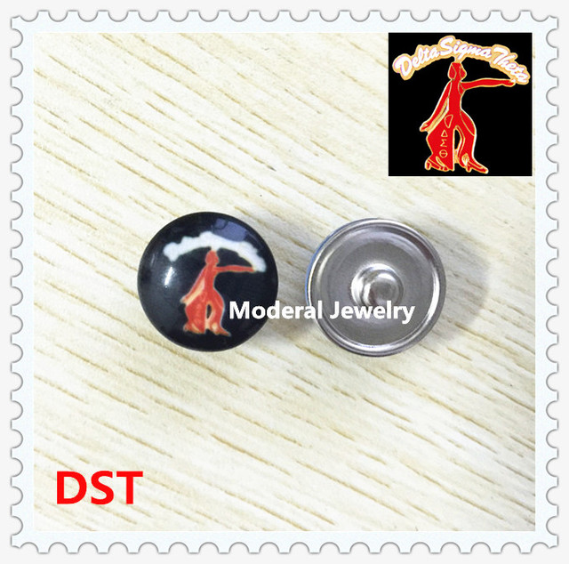 20pcslot 18mm Alloy Glass Delta Sigma Theta Fortitude Lady Button