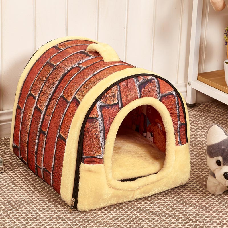 Hot Dog House Kennel Nest With Mat Foldable Pet Dog Bed Cat Bed House For Small