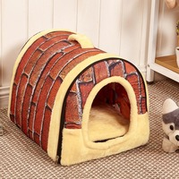 Hot Dog House Nest With Mat Foldable Pet Dog Bed Cat Bed House For Small Medium