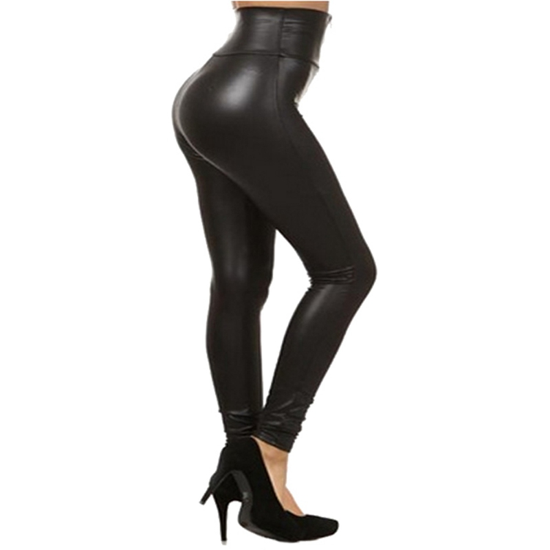 Winter Faux Leather   Legging   Pant Women Elastic Zipper Leather Pants Trousers Sexy Black High Waist Lady Pencil Pant