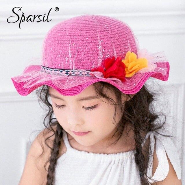 42a717b92eb90 Sparsil Summer Children Shiny Sequin Yarn Sun Hats Flowers Lace Wide Brim  Visor Caps Girls Spring Outdoor Beach Picnic Cute Cap
