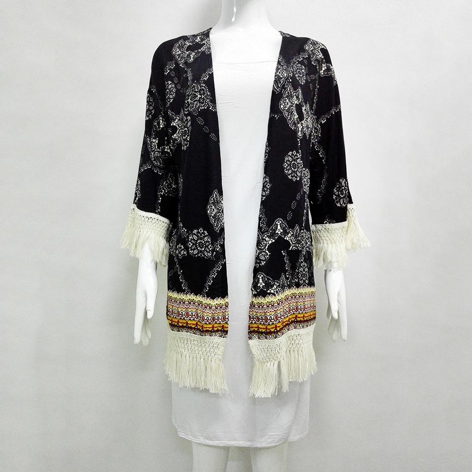 Pour Multi Trimestre Manches Pom Gland Casual Kimono pom Imprimer Décoré L'été Trois Dames Tops Femmes Fringe Longueur Multicolore gFFCqwxAE