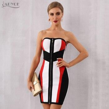 Adyce Vestidos Verano Strapless Midi Dress