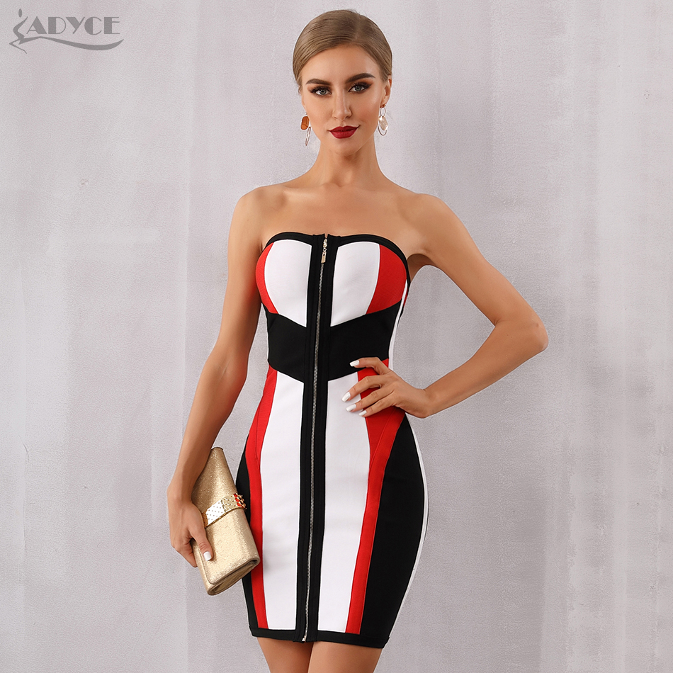 Adyce 2020 New Summer Bodycon Bandage Dress Women Vestidos Sexy Strapless Midi Club Dress Runway Celebrity Evening Party Dresses