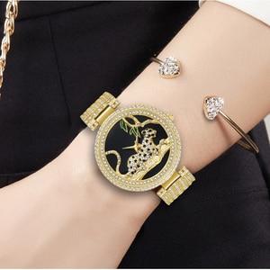 Image 5 - MISSFOX Black Elegant Leopard In Tree Mk Stainless Steel Import Japan Movt Analog Fashion Gold Women Watches Quartz Golden Clock