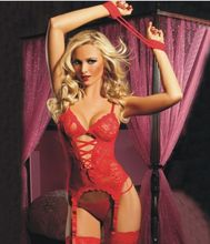 Sexy Lingerie Lace Woman Erotica Lenceria Nightclothes Three Pieces Intimate for Female Babydoll Costume Charming Lady CA799