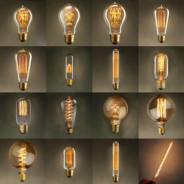 Edison Ampoule E27 220 V 40 W ST64 ST58 A19 T45 G80 G95 T10 Rétro Lampe à incandescence vintage ampoule À Incandescence Edison Lampe Pour décor