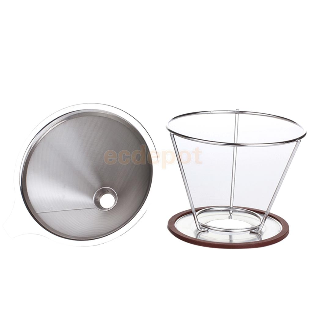 Stainless Mesh Coffee Filter Cup Cone Pour Over Drip Dripper Holder #1 115mm