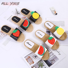 ALL YIXIE 2019 Summer New Ladies Slippers Fashion Cute Casual Non-Slip Fruit Woven Beach Ladies Slip Non-Slip Indoor Slippers
