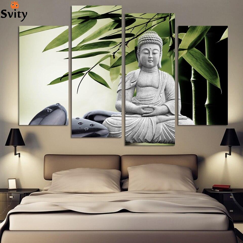 Modern Buddha Painting 4 Picture Home Dekorace mramorový buddha a banboo krajina umění plátno bez rámečku