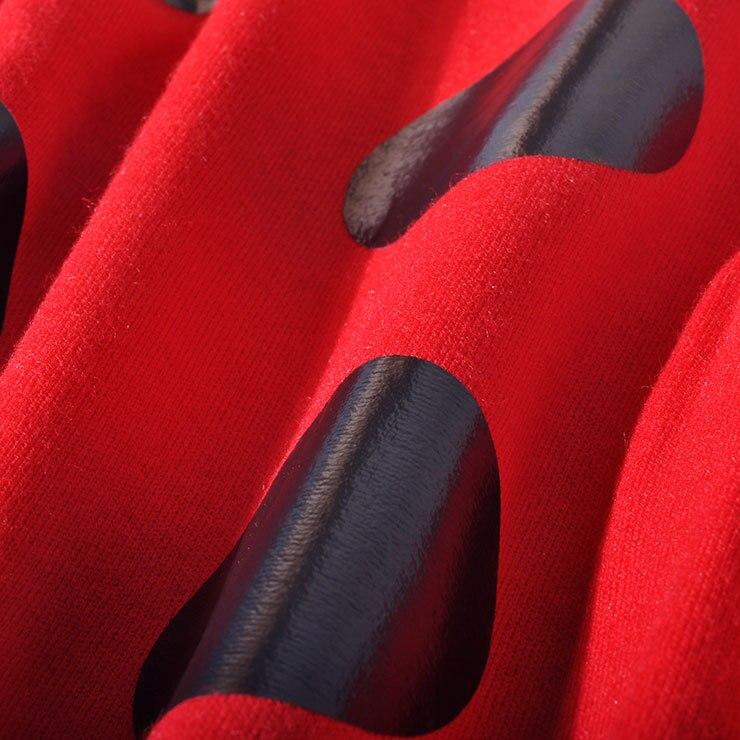 2018 Ginocchio Modo Vestiti red lunghezza Completa Di Nuovo Stampa L Donne Manica Dolcevita Naturale Inverno Dalle Casual 3xl Linea Samgpilee Black Appliques Una SSraBO