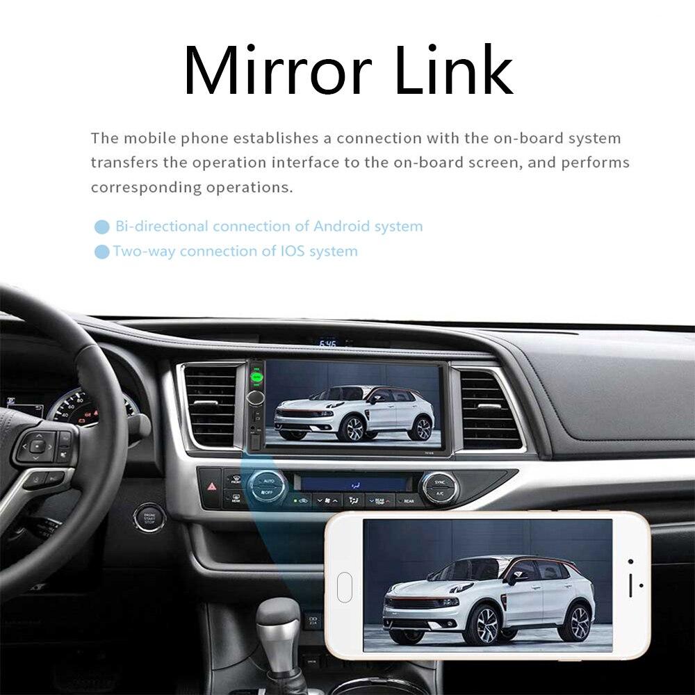 Hikity auto radio 2 din autoradio 7 pouces Auto Radio lecteur multimédia avec Android miroir lien Support volant à distance - 4