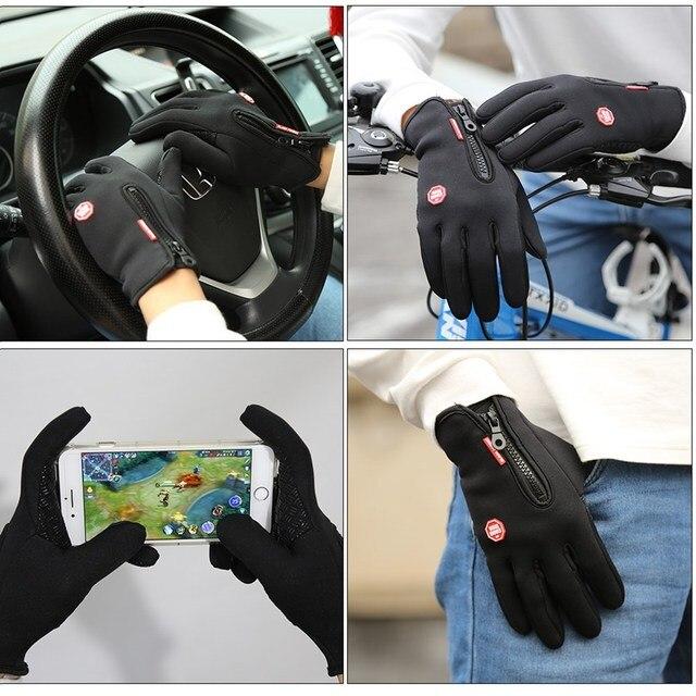 Outdoor Sports Windstopper Waterproof Gloves Black Riding Glove Motorcycle Gloves Touch Screen Black Full Finger Men 4