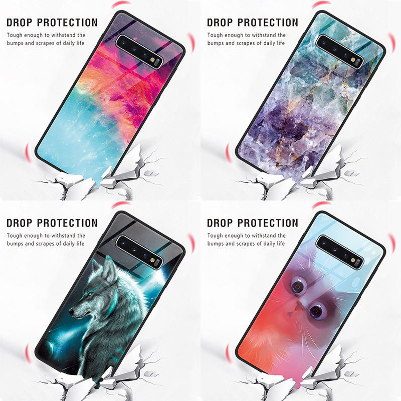Tempered <font><b>Glass</b></font> Animal Flower Coque For <font><b>Samsung</b></font> Galaxy A50 Note 8 9 S10 S10e S9 S8 A6 J4 Plus J8 J7 Prime A8 <font><b>A7</b></font> 2018 M10 M20 Case image
