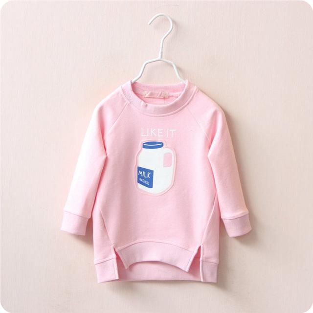Hot! 2016 meninas novas camisola design do frasco de Leite do bebê crianças hoodies inverno desgaste das crianças china camisa base de bobo choses lacunas