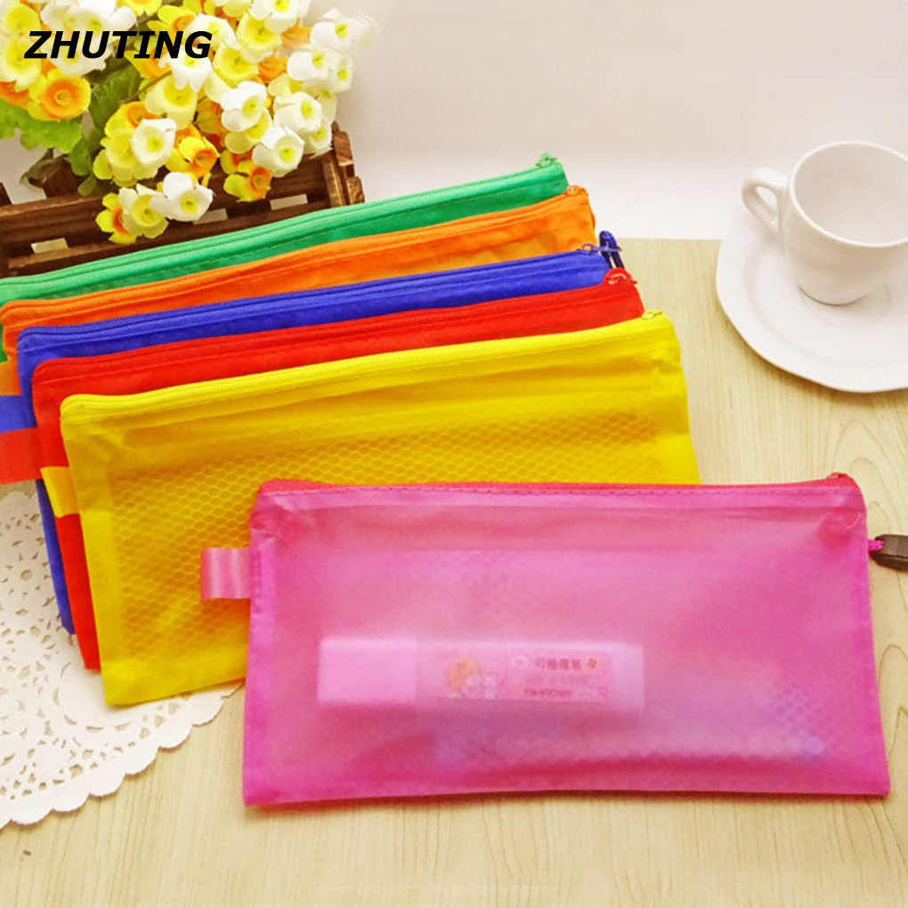 Office teaching paper bag A4 / A5 / A6 / B5 transparent double net zipper PVC file bag file cabinet office stationery