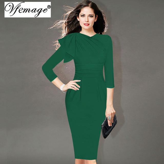 a59e0092b09 Vfemage Womens Elegant Ruched Wear To Work Business Cocktail Party Fitted  Stretch Slim Bodycon Wiggle Pencil