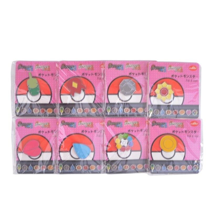 8Pcs/set Pocket Monster Pikachu Badge Brooch mini Zinc Alloy Figures model Toys Anime cartoon Pokeball cosplay small decoration