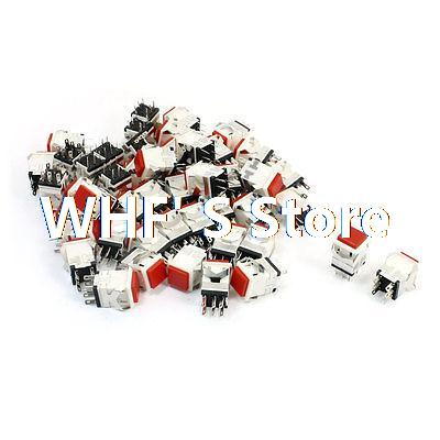 50 Pcs DPDT 6-Pin Self-setting Momentary Control Red Cap Push Button Switch