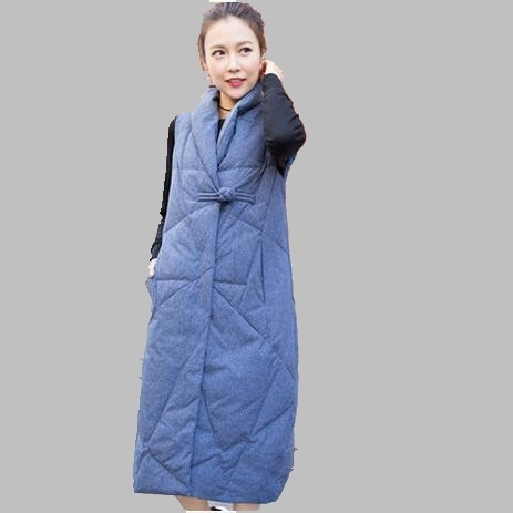 2017 Women Winter Vest New Fashion Slim White Duck Vest Long Slim Thick Warm Women Down Vest Large size Leisure Down Vest AB349